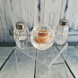 Crystal Salt & Peppers Shakers Candle Holder Bonus